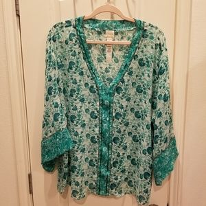 EUC Chico's Green Floral Sheer Topper Tunic Size 3